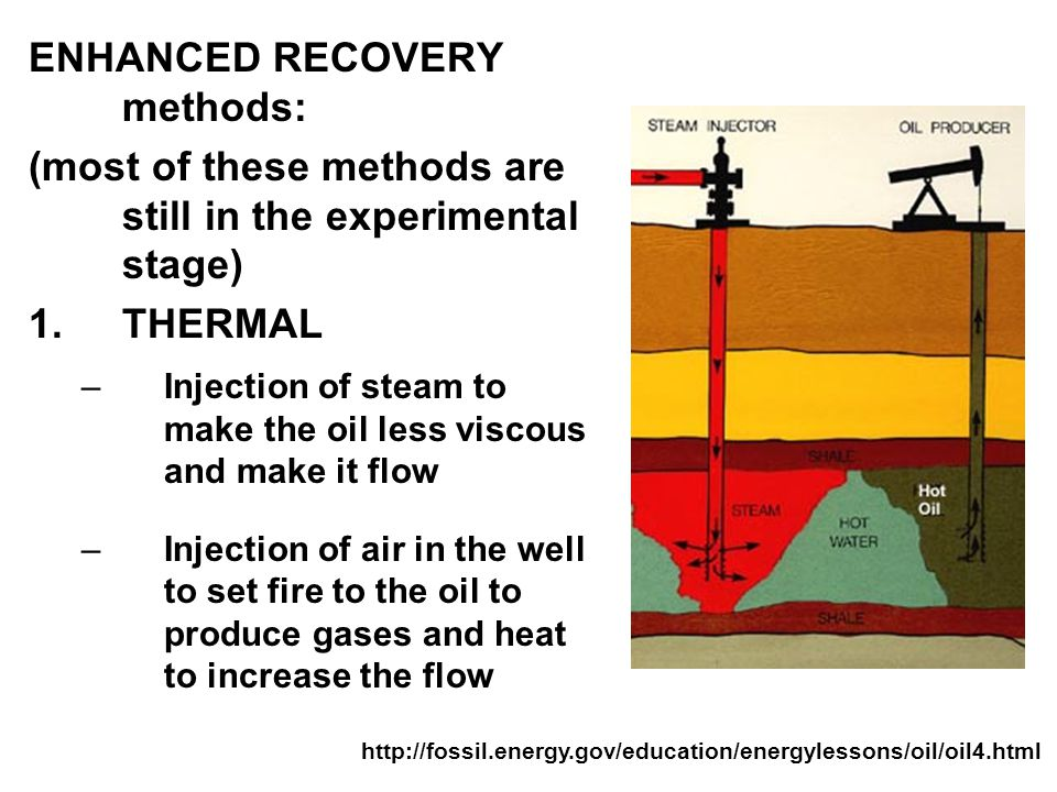SECONDARY RECOVERY methods: WATERFLOODING –Pump water through injection wells into the reservoir to wash some of the oil out –Can generate only 10-15% of the remaining oil (leaves 65-70% of the total oil in the reservoir) FRACKING (more on that later on)