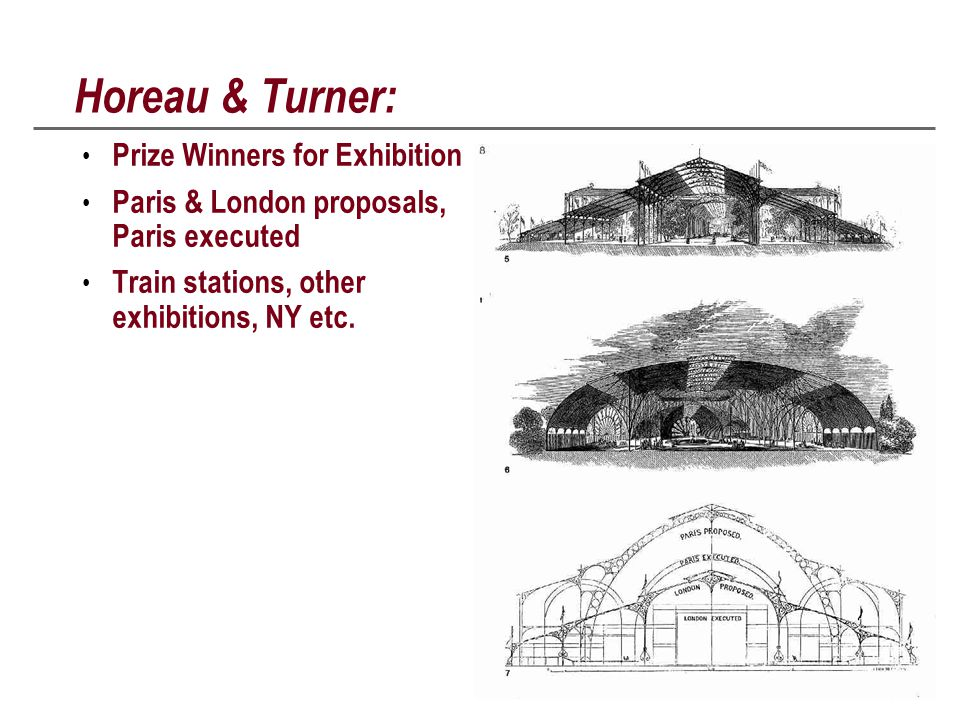 Horeau & Turner: Prize Winners for Exhibition Paris & London proposals, Paris executed Train stations, other exhibitions, NY etc.