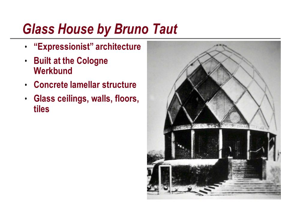 Glass House by Bruno Taut Expressionist architecture Built at the Cologne Werkbund Concrete lamellar structure Glass ceilings, walls, floors, tiles