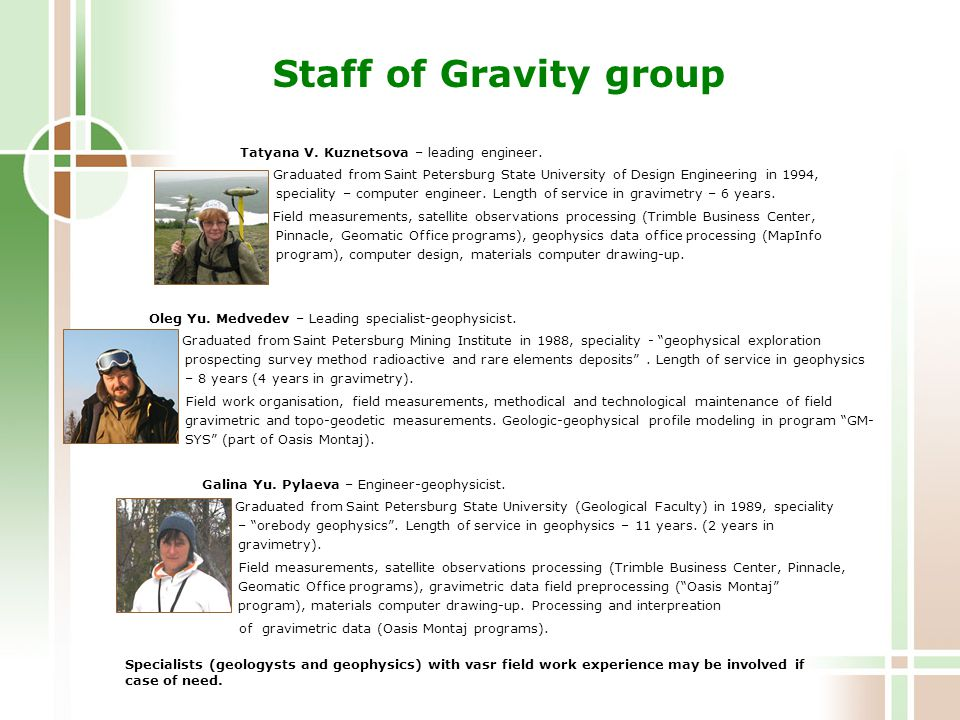 Staff of Gravity group Tatyana V. Kuznetsova – leading engineer.