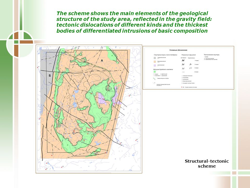 Structural-tectonic scheme The scheme shows the main elements of the geological structure of the study area, reflected in the gravity field: tectonic dislocations of different kinds and the thickest bodies of differentiated intrusions of basic composition