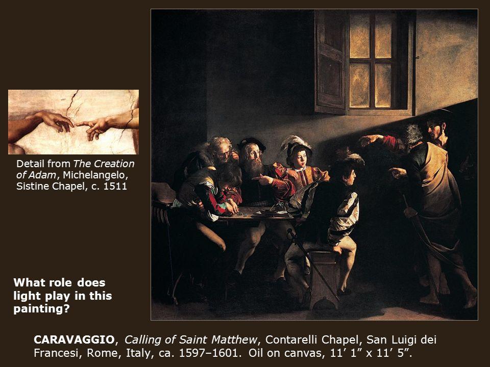 CARAVAGGIO, Calling of Saint Matthew, Contarelli Chapel, San Luigi dei Francesi, Rome, Italy, ca.