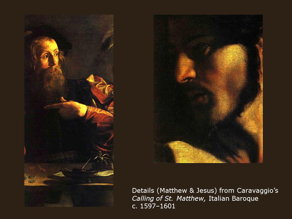 Details (Matthew & Jesus) from Caravaggio's Calling of St. Matthew, Italian Baroque c. 1597–1601