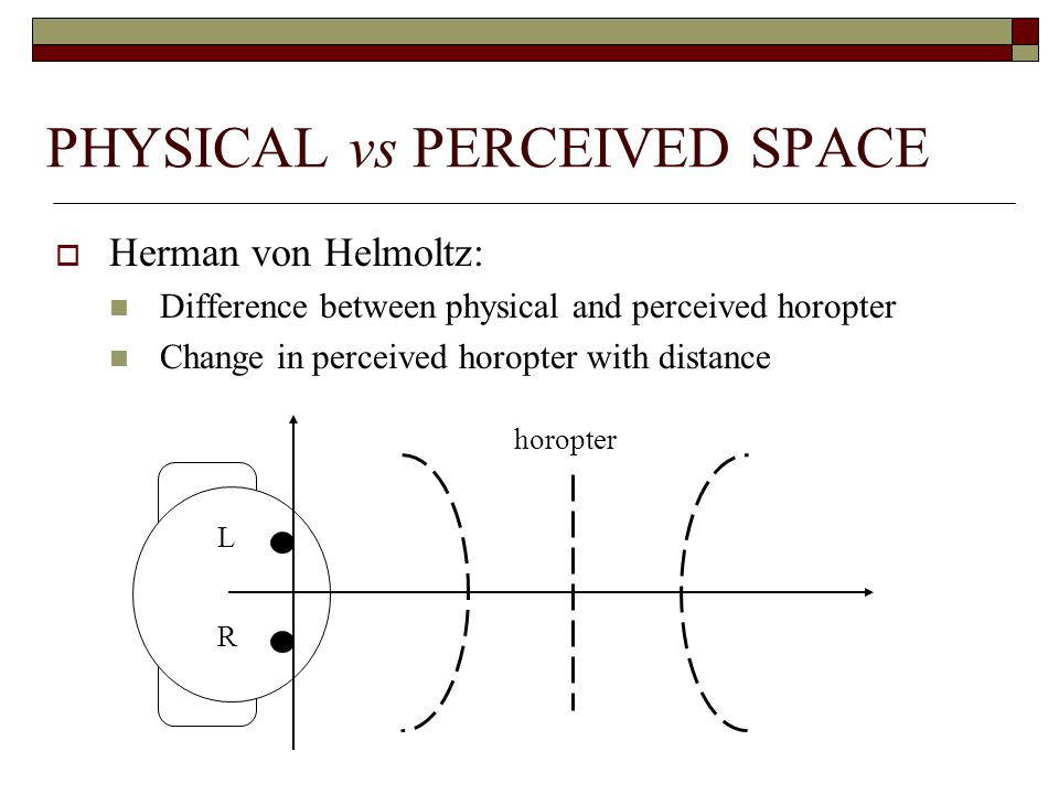 PHYSICAL vs PERCEIVED SPACE  Herman von Helmoltz: Difference between physical and perceived horopter Change in perceived horopter with distance L R horopter