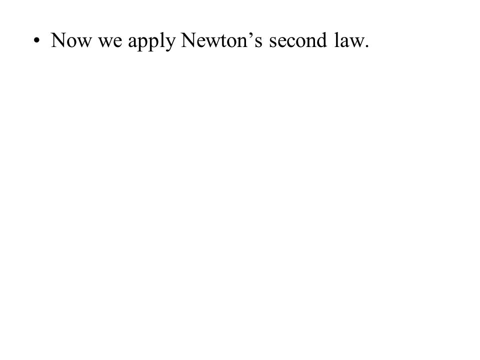Now we apply Newton's second law.