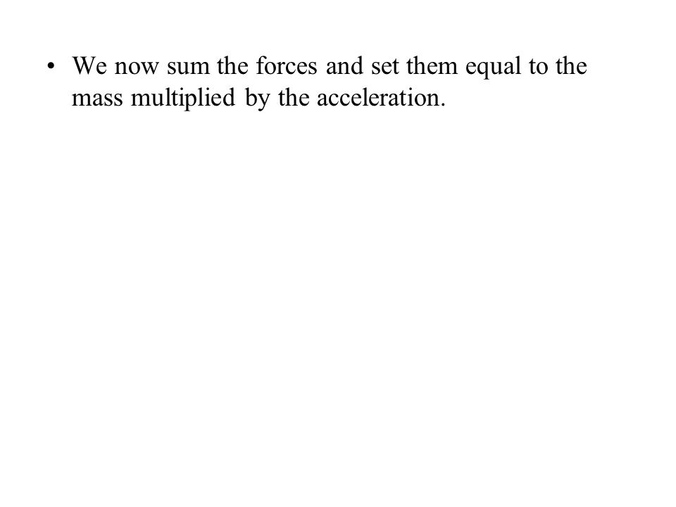 We now sum the forces and set them equal to the mass multiplied by the acceleration.