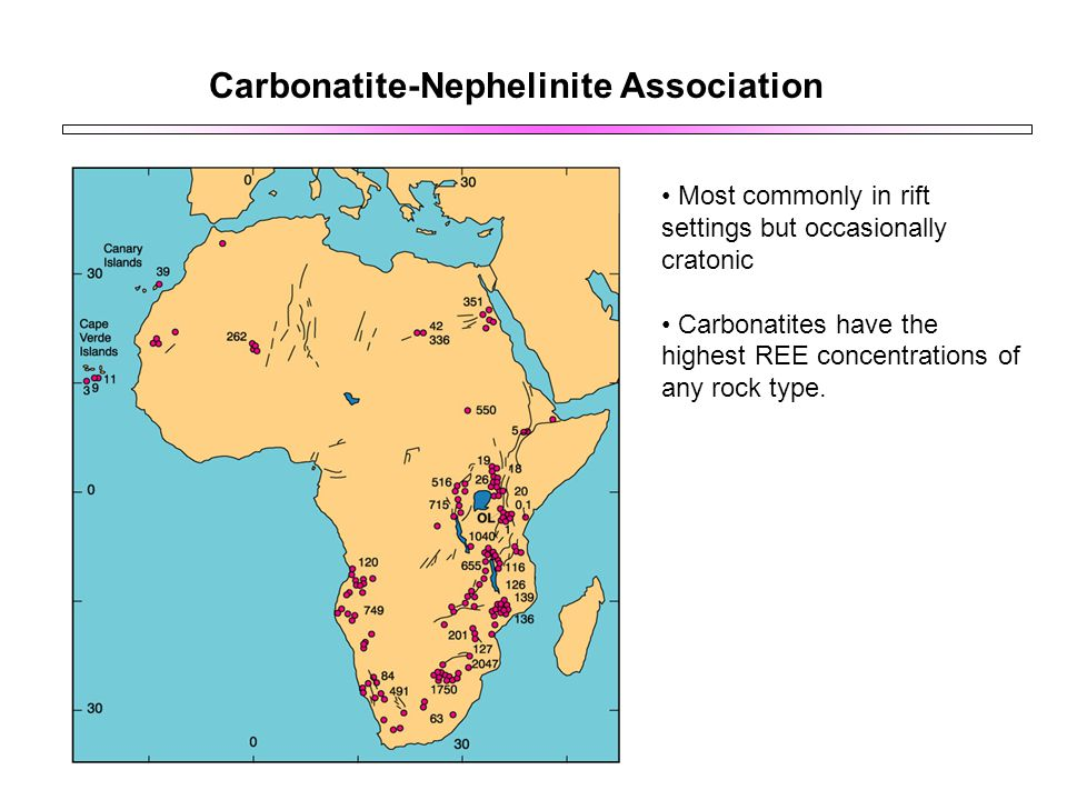 Carbonatite-Nephelinite Association Most commonly in rift settings but occasionally cratonic Carbonatites have the highest REE concentrations of any r