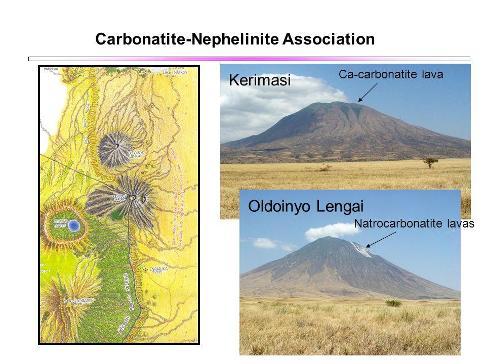 Carbonatite-Nephelinite Association Kerimasi Oldoinyo Lengai Ca-carbonatite lava Natrocarbonatite lavas