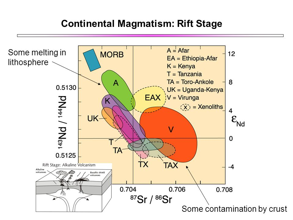 Continental Magmatism: Rift Stage Some melting in lithosphere Some contamination by crust