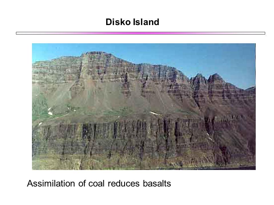 Disko Island Assimilation of coal reduces basalts