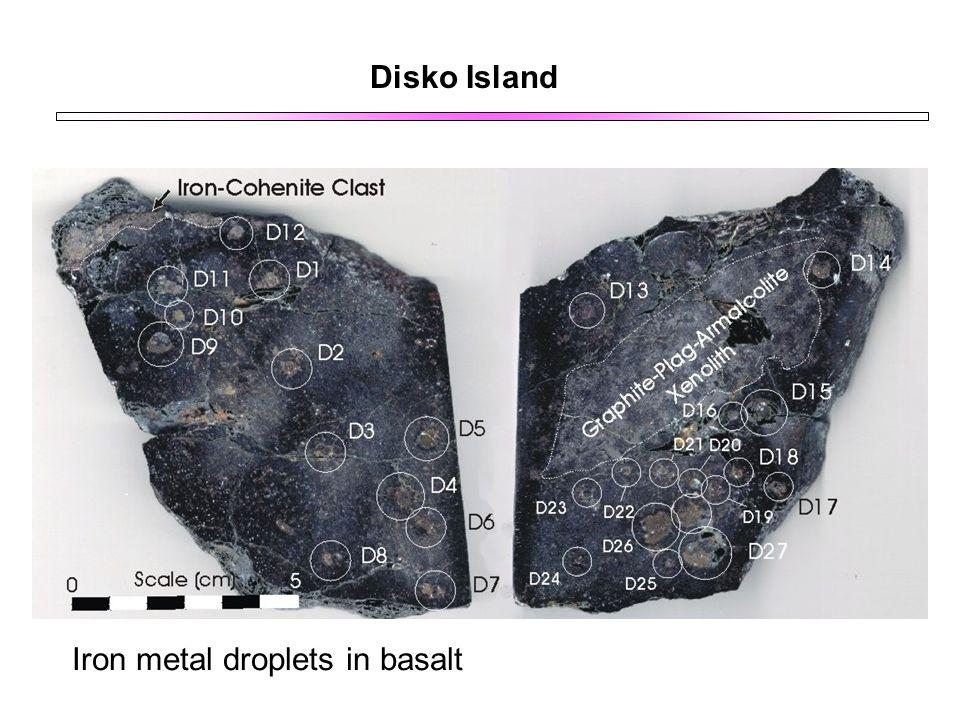 Disko Island Iron metal droplets in basalt
