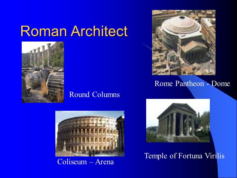 Roman Architect Temple of Fortuna Virilis Rome Pantheon - Dome Coliseum – Arena Round Columns