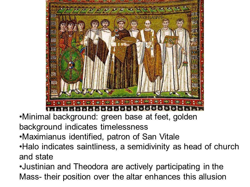 Minimal background: green base at feet, golden background indicates timelessness Maximianus identified, patron of San Vitale Halo indicates saintlines