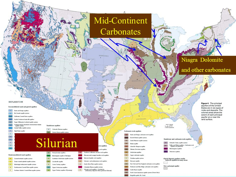Mid-Continent Carbonates Niagra Dolomite and other carbonates Silurian