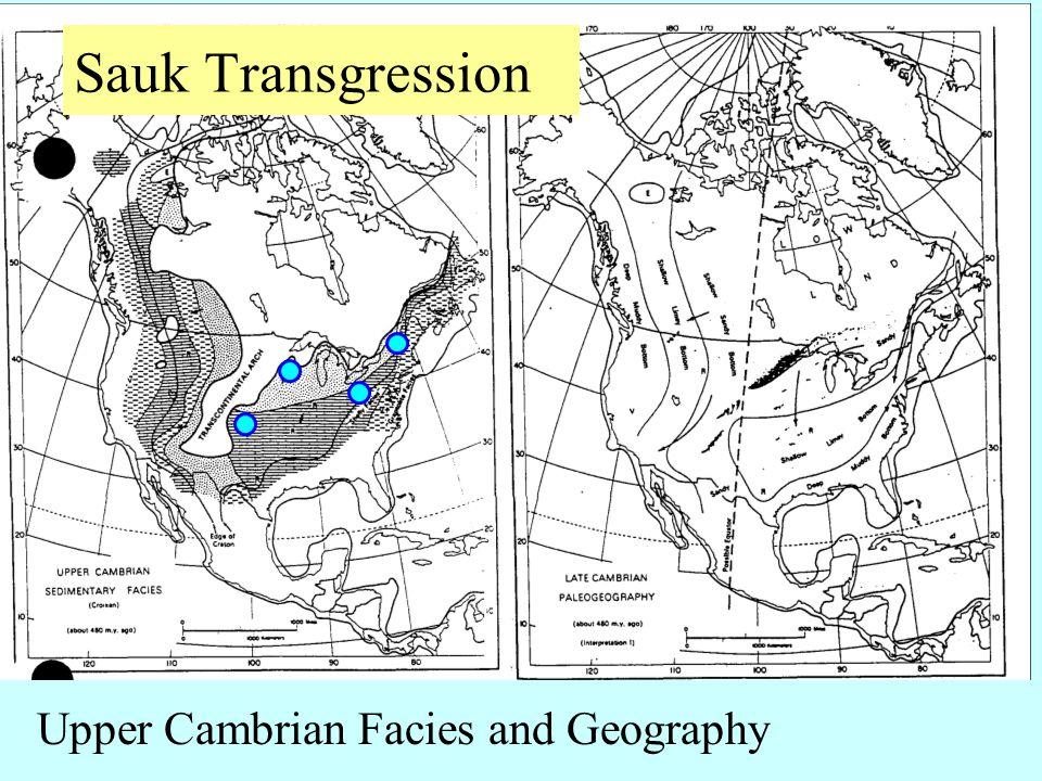Upper Cambrian Facies and Geography Sauk Transgression