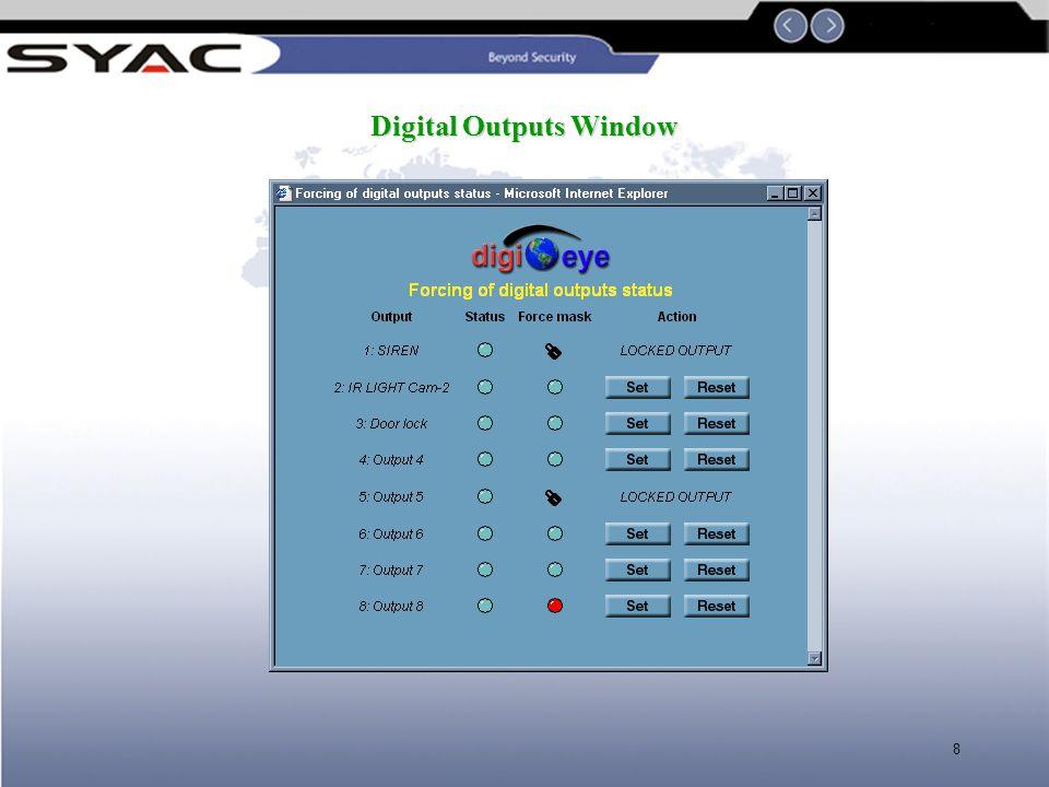 8 Digital Outputs Window