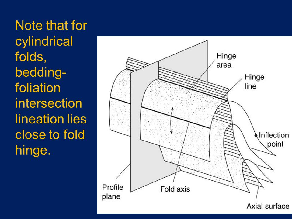 Note that for cylindrical folds, bedding- foliation intersection lineation lies close to fold hinge.