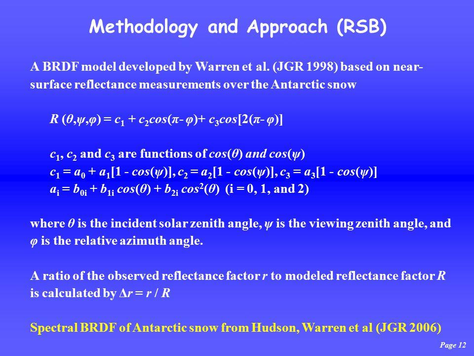 Page 12 Methodology and Approach (RSB) A BRDF model developed by Warren et al.
