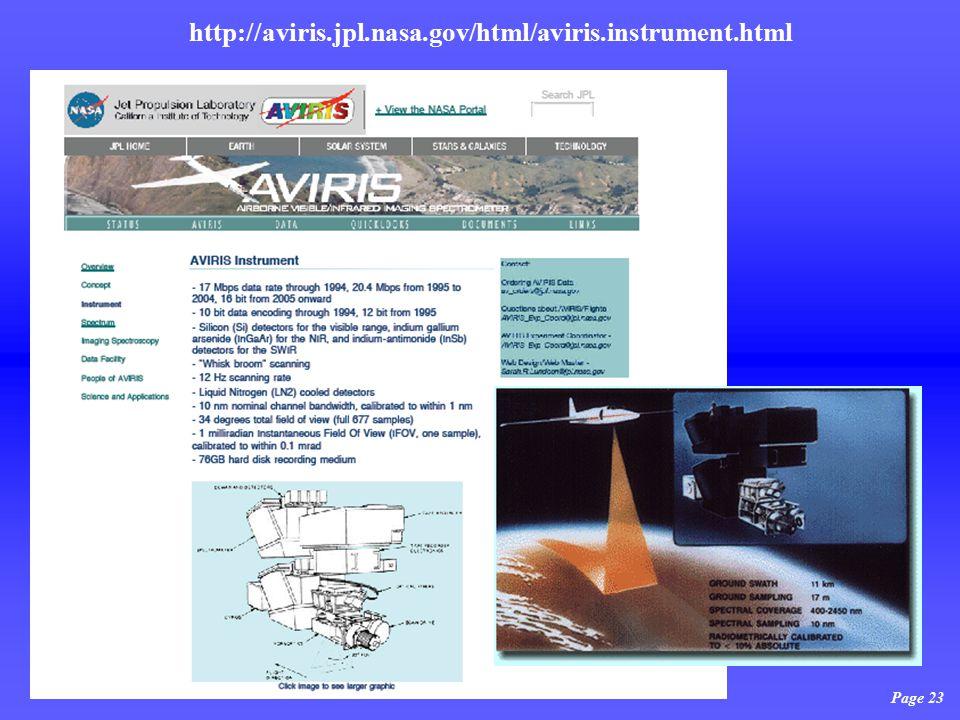 Page 23 http://aviris.jpl.nasa.gov/html/aviris.instrument.html