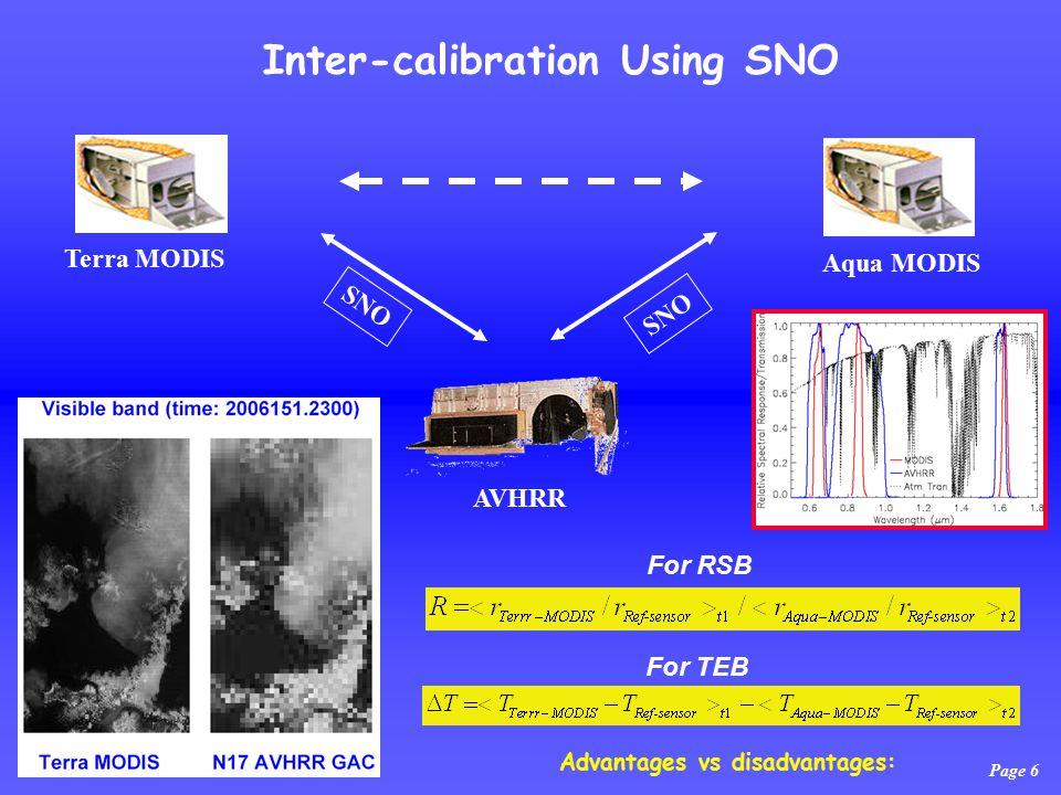 Page 6 Inter-calibration Using SNO Terra MODIS Aqua MODIS AVHRR SNO For RSB For TEB Advantages vs disadvantages: