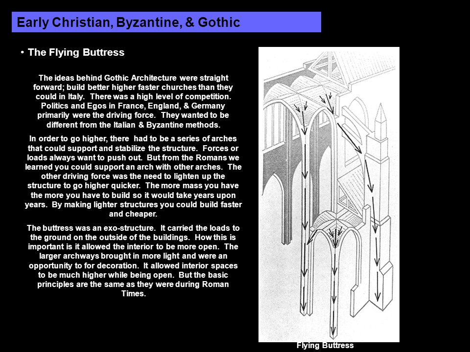 Early Christian, Byzantine, & Gothic The Flying Buttress The ideas behind Gothic Architecture were straight forward; build better higher faster church