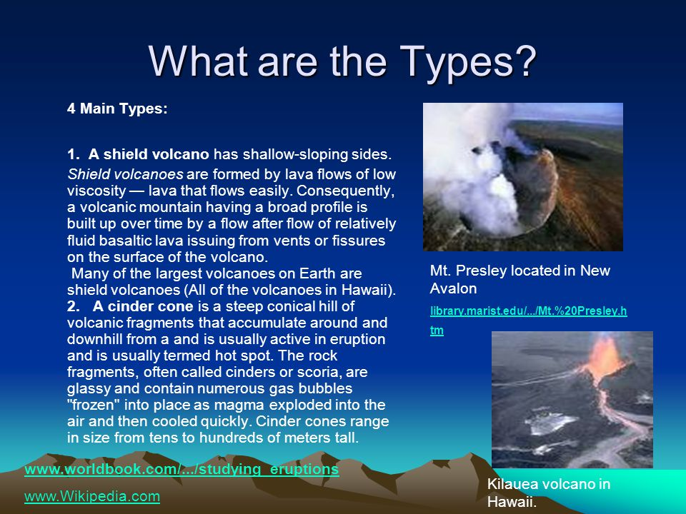 What are the Types. 4 Main Types: 1. A shield volcano has shallow-sloping sides.