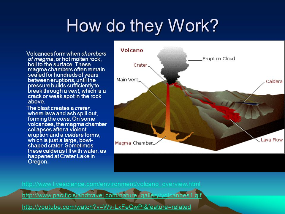 How do they Work. Volcanoes form when chambers of magma, or hot molten rock, boil to the surface.