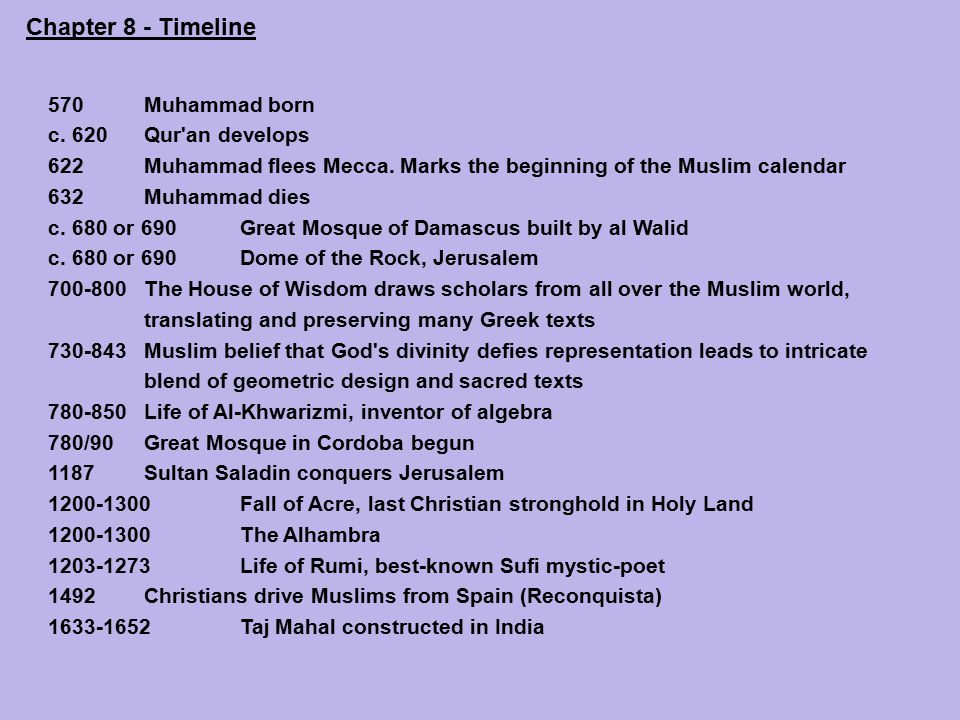 Chapter 8: Outline Muhammad and the Birth of Islam The Koran Calligraphy Islamic Architecture Sufism The Culture of Islam and the West