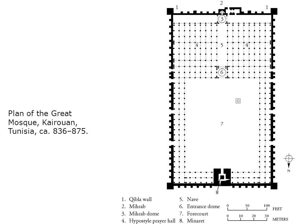 Plan of the Great Mosque, Kairouan, Tunisia, ca. 836–875.