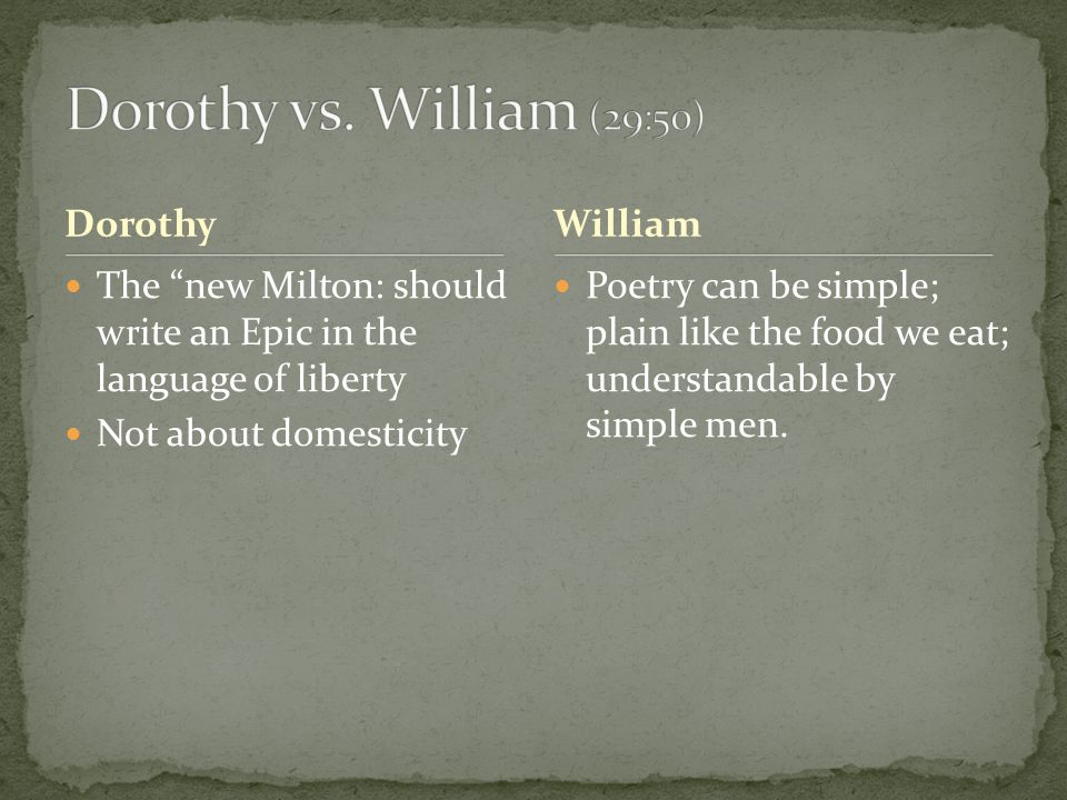 Dorothy The new Milton: should write an Epic in the language of liberty Not about domesticity Poetry can be simple; plain like the food we eat; understandable by simple men.