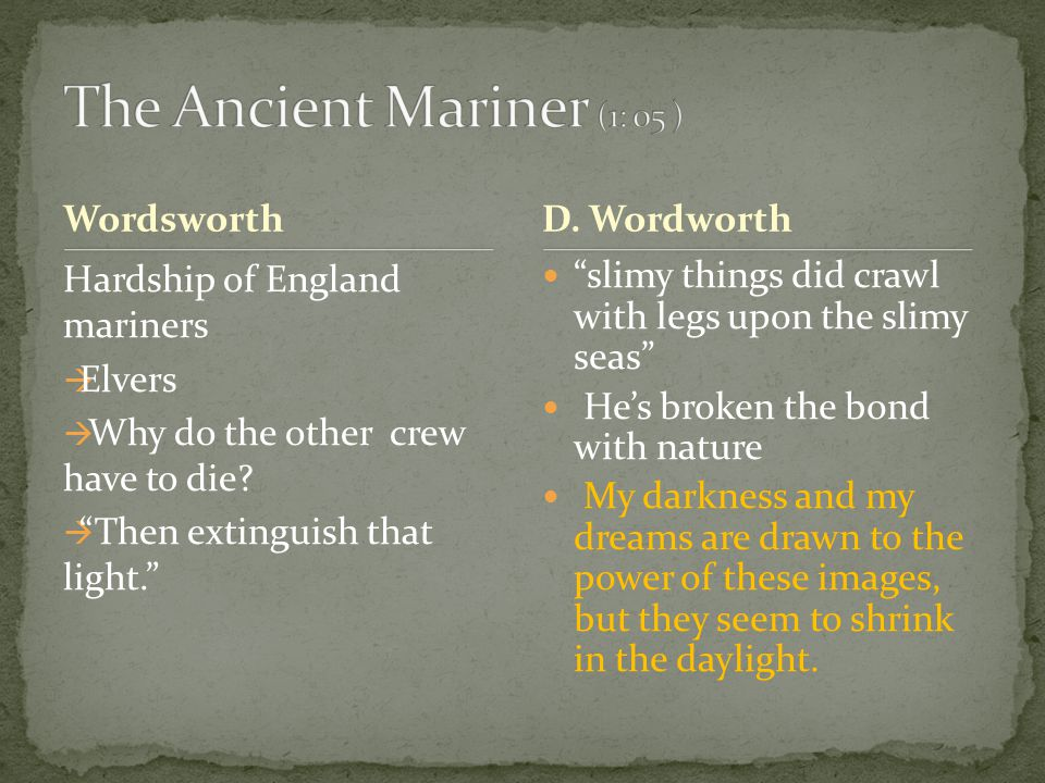 Wordsworth Hardship of England mariners  Elvers  Why do the other crew have to die.