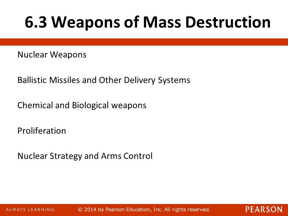 6.3 Weapons of Mass Destruction Nuclear Weapons Ballistic Missiles and Other Delivery Systems Chemical and Biological weapons Proliferation Nuclear Strategy and Arms Control