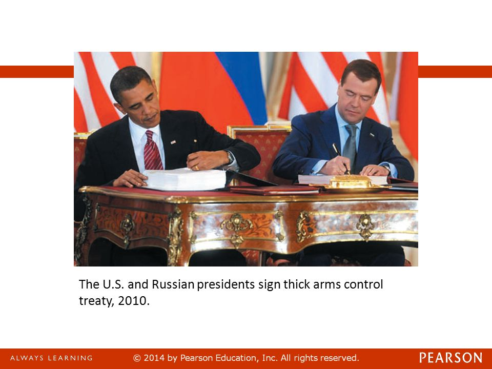 The U.S. and Russian presidents sign thick arms control treaty, 2010.