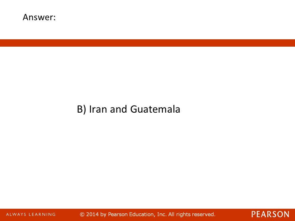 : Answer: B) Iran and Guatemala