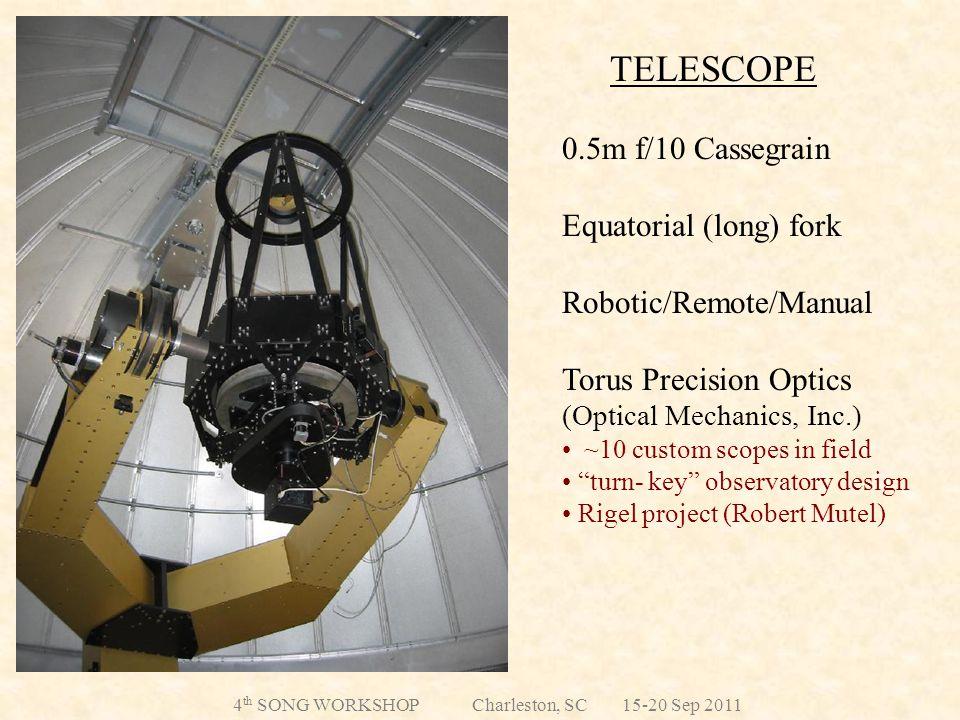 TELESCOPE 0.5m f/10 Cassegrain Equatorial (long) fork Robotic/Remote/Manual Torus Precision Optics (Optical Mechanics, Inc.) ~10 custom scopes in field turn- key observatory design Rigel project (Robert Mutel) 4 th SONG WORKSHOP Charleston, SC 15-20 Sep 2011