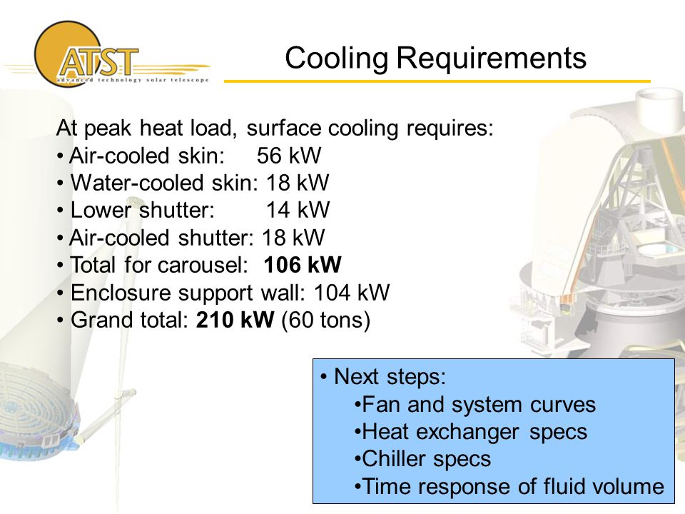 Cooling Requirements Next steps: Fan and system curves Heat exchanger specs Chiller specs Time response of fluid volume At peak heat load, surface cooling requires: Air-cooled skin: 56 kW Water-cooled skin: 18 kW Lower shutter: 14 kW Air-cooled shutter: 18 kW Total for carousel: 106 kW Enclosure support wall: 104 kW Grand total: 210 kW (60 tons)
