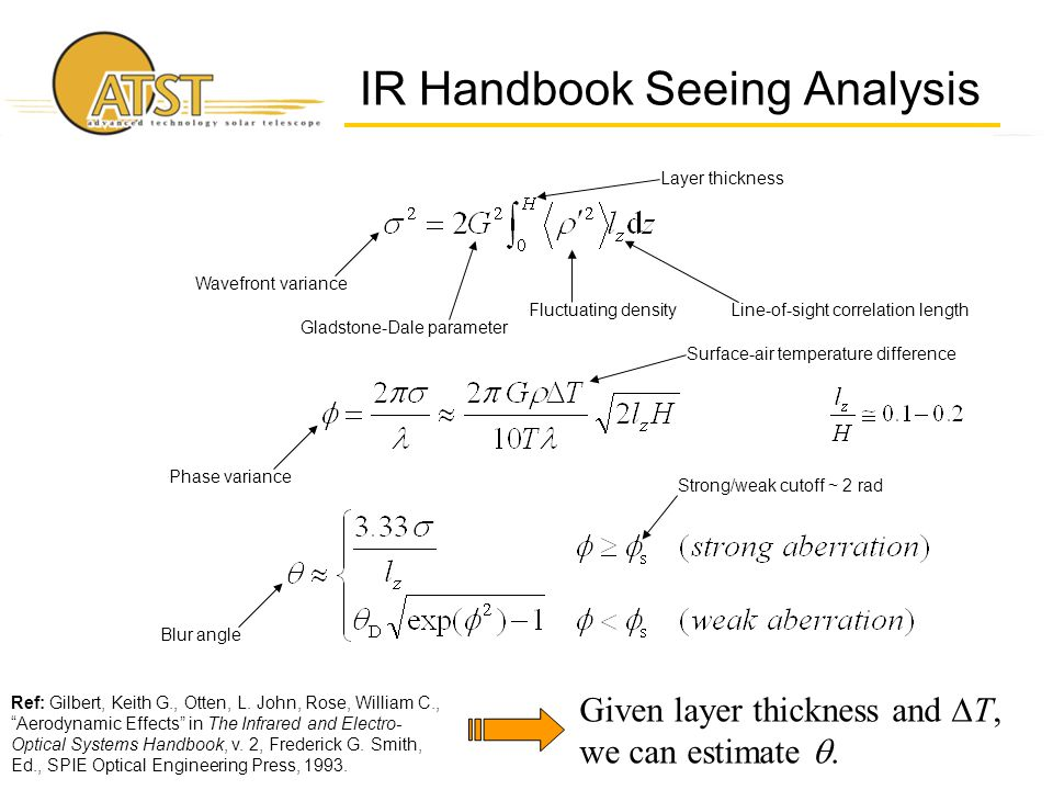 IR Handbook Seeing Analysis Given layer thickness and  T, we can estimate .