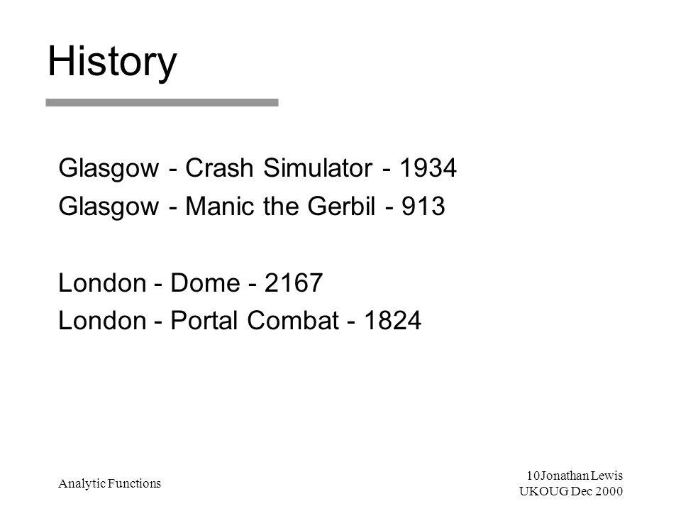 10Jonathan Lewis UKOUG Dec 2000 Analytic Functions History Glasgow - Crash Simulator - 1934 Glasgow - Manic the Gerbil - 913 London - Dome - 2167 Lond