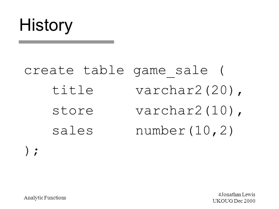 4Jonathan Lewis UKOUG Dec 2000 Analytic Functions History create table game_sale ( titlevarchar2(20), storevarchar2(10), salesnumber(10,2) );