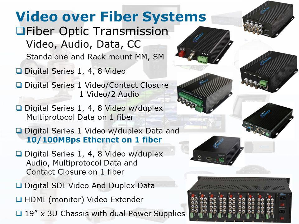 Video over Fiber Systems  Fiber Optic Transmission Video, Audio, Data, CC Standalone and Rack mount MM, SM  Digital Series 1, 4, 8 Video  Digital S