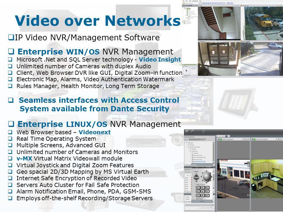 Video over Networks  IP Video NVR/Management Software  Enterprise WIN/OS NVR Management  Microsoft.Net and SQL Server technology - Video Insight 