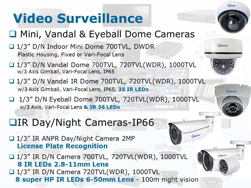 "Video Surveillance  Mini, Vandal & Eyeball Dome Cameras  1/3"" D/N Indoor Mini Dome 700TVL, DWDR Plastic Housing, Fixed or Vari-Focal Lens  1/3"" D/N"