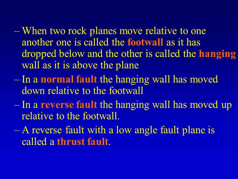 –When two rock planes move relative to one another one is called the footwall as it has dropped below and the other is called the hanging wall as it is above the plane –In a normal fault the hanging wall has moved down relative to the footwall –In a reverse fault the hanging wall has moved up relative to the footwall.