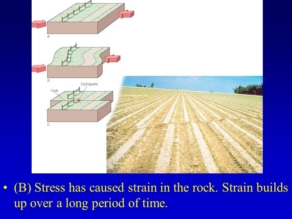 (B) Stress has caused strain in the rock. Strain builds up over a long period of time.