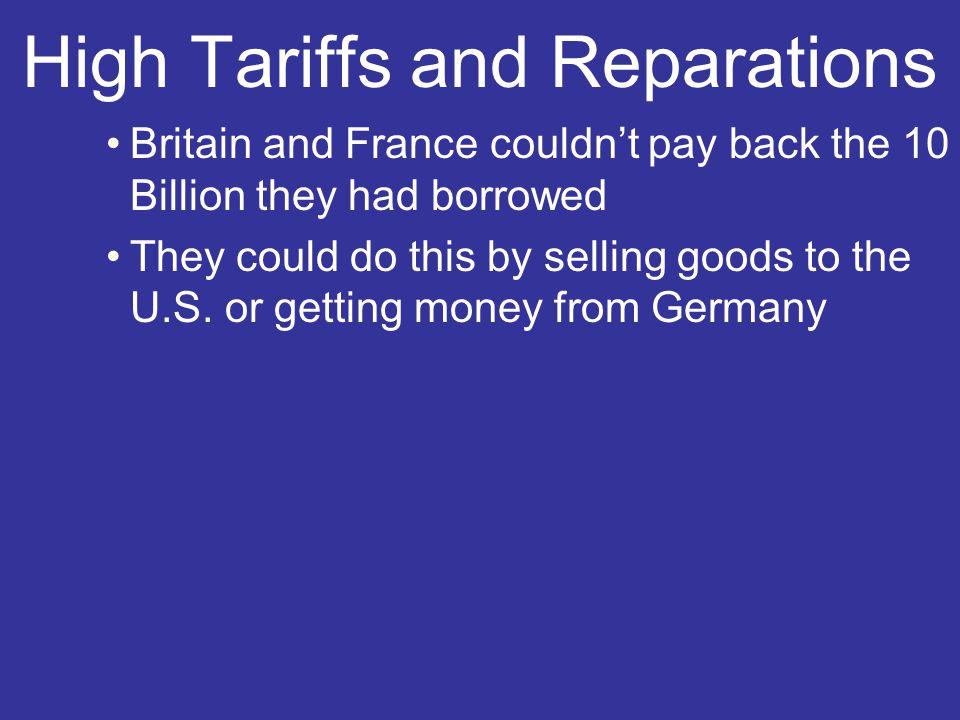 Tariffs 1922-Fordney-McCumber Tariff: raised taxes on some U.S.