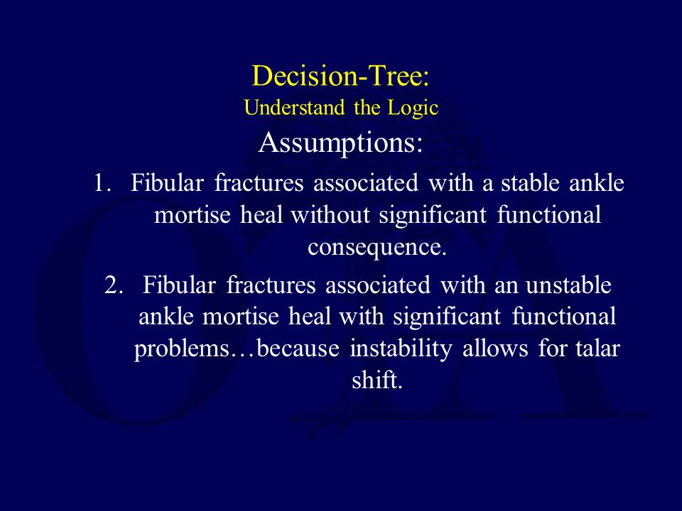 Decision-Tree: Understand the Logic Assumptions: 1. Fibular fractures associated with a stable ankle mortise heal without significant functional conse