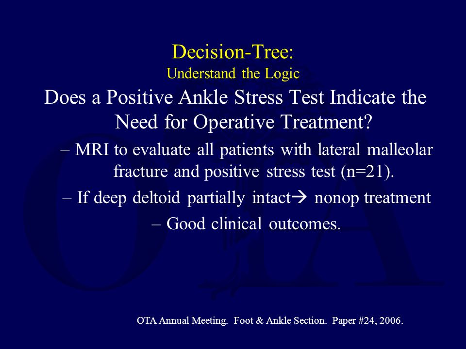 Decision-Tree: Understand the Logic Does a Positive Ankle Stress Test Indicate the Need for Operative Treatment? –MRI to evaluate all patients with la