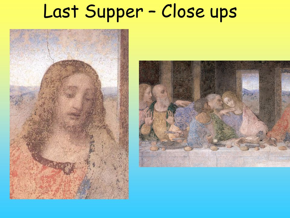 Da Vinci - The Last Supper (1498) The scene represents the final days of Jesus Excellent example of linear perspective. Note the angles, horizon line,