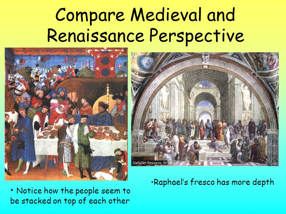 Compare Medieval and Renaissance Perspective Notice how the people seem to be stacked on top of each other Raphael's fresco has more depth
