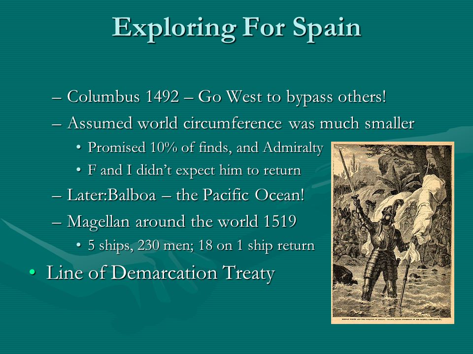 Exploring For Spain –Columbus 1492 – Go West to bypass others.